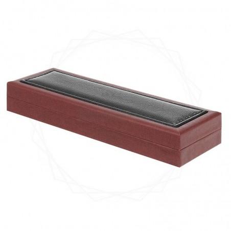 Brązowe pudełko prezentowe z czarną skórą ECO [P0200]