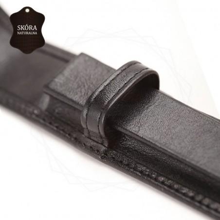 Skórzane etui na pojedyńczy produkt w kolorze czarnym [E00138]