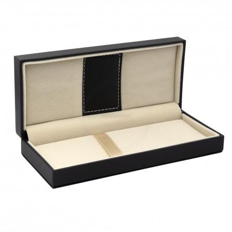 Czarne pudełko prezentowe ze skóry ekologicznej [P0201]