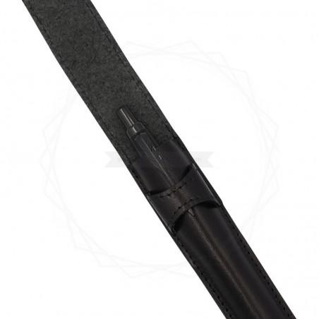 Skórzane, czarne etui z zaokrąglonymi bokami [E00137]