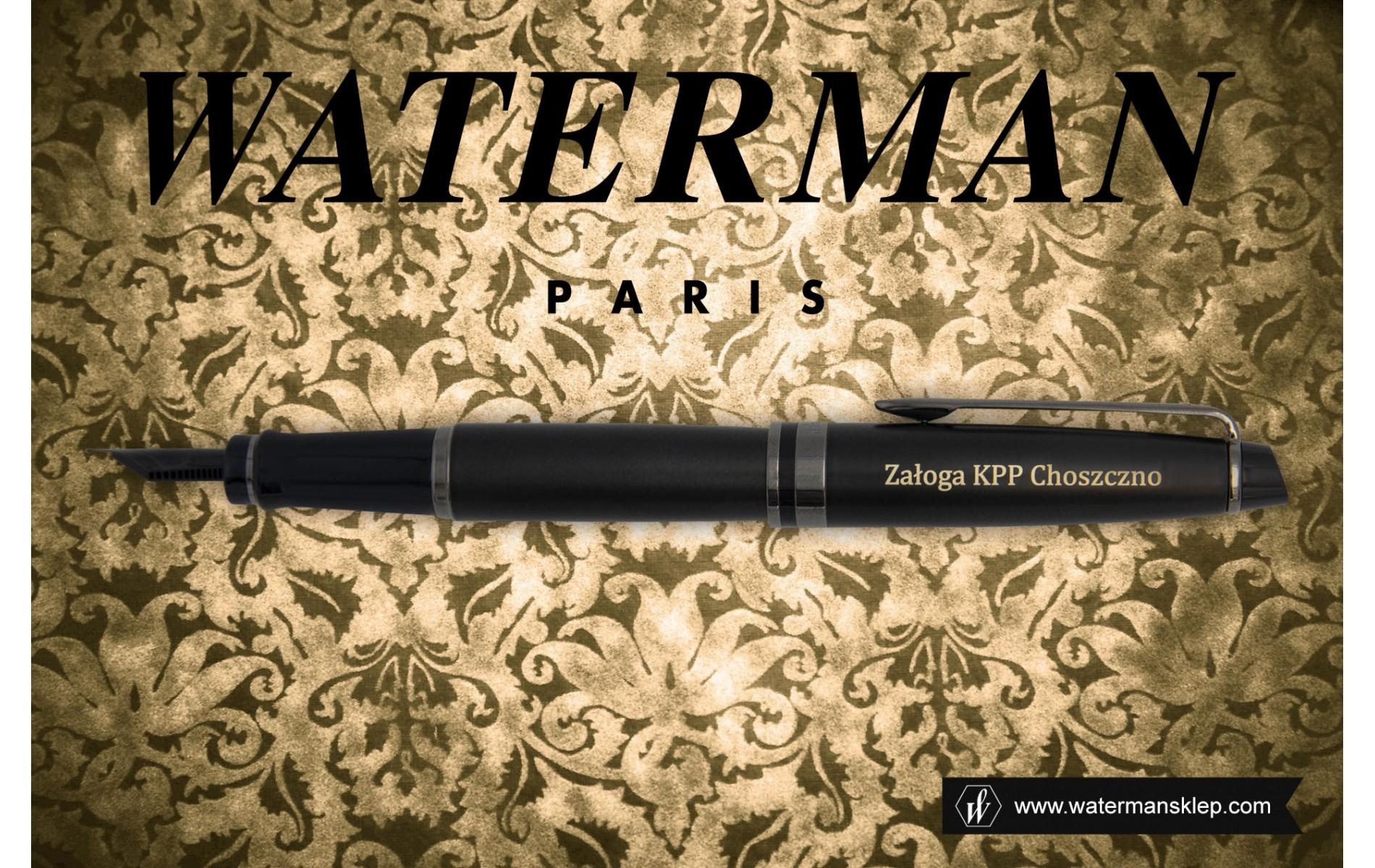 Pióro wieczne Waterman Expert Metalic Czarny [2119188] z grawerem w stylu vintage