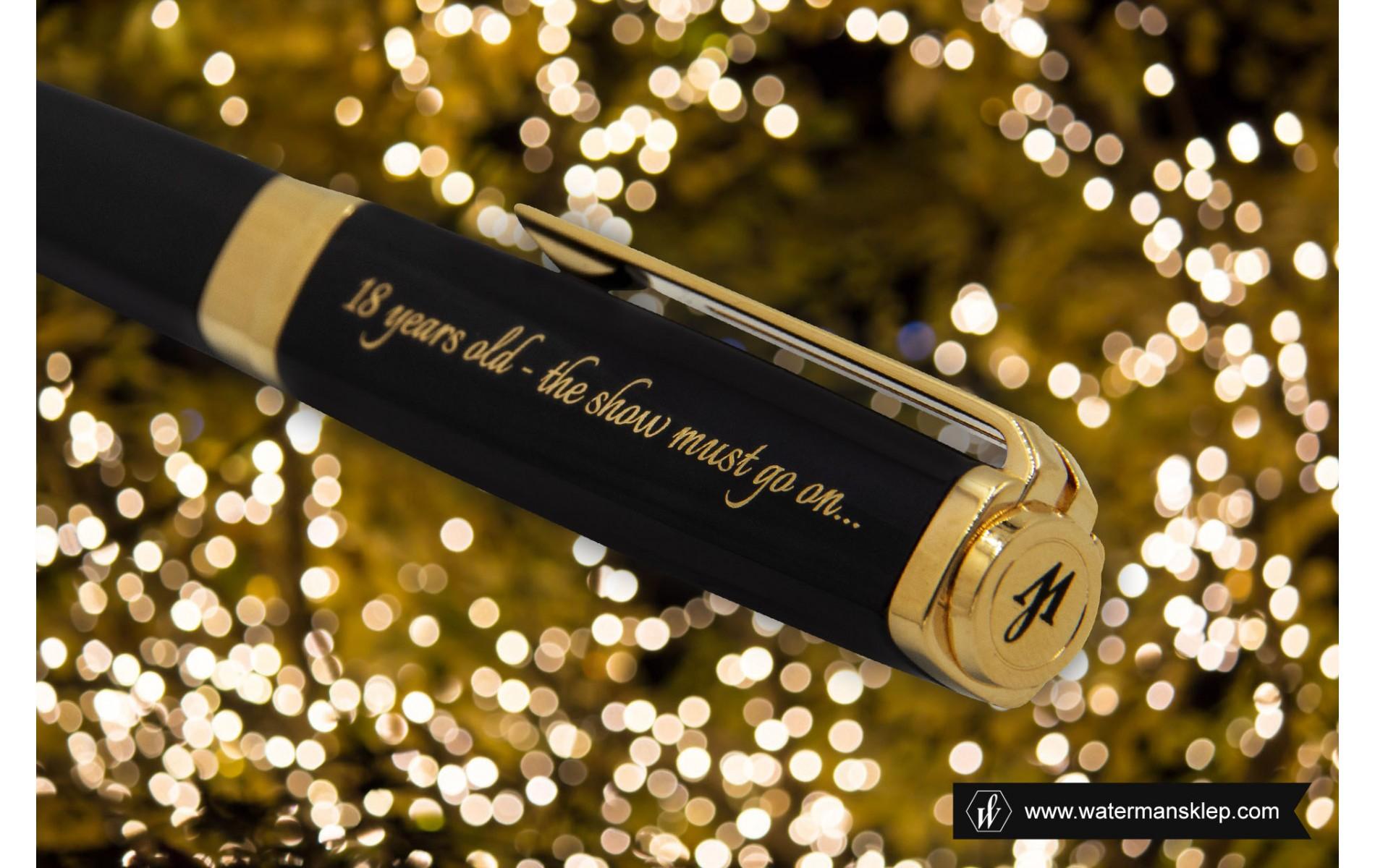 Długopis Waterman Exception Slim czarny GT [S0636960] z grawerem