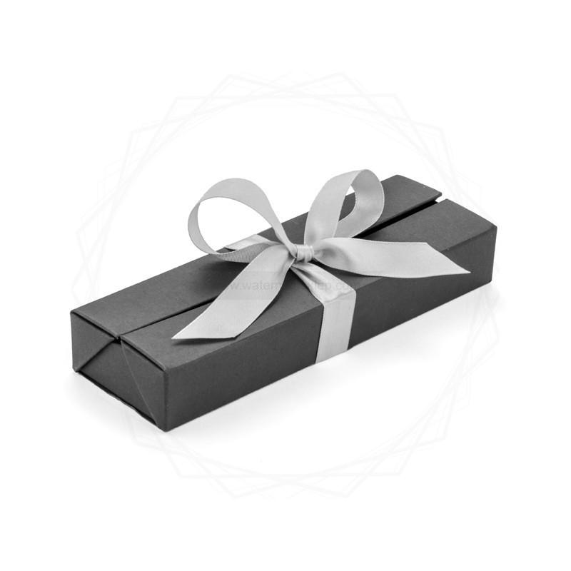 Pudełko prezentowe srebrne z wstążką [19614-00]