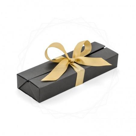 Pudełko prezentowe srebrne ze złotą wstążką [19614-24]
