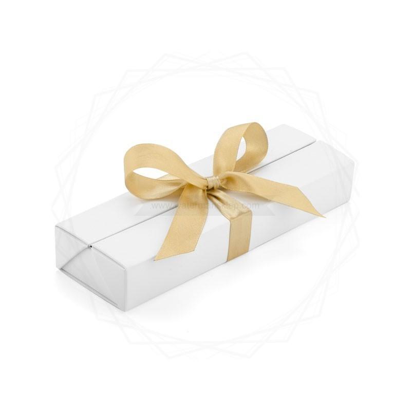 Pudełko prezentowe białe ze złotą wstążką [19615-24]