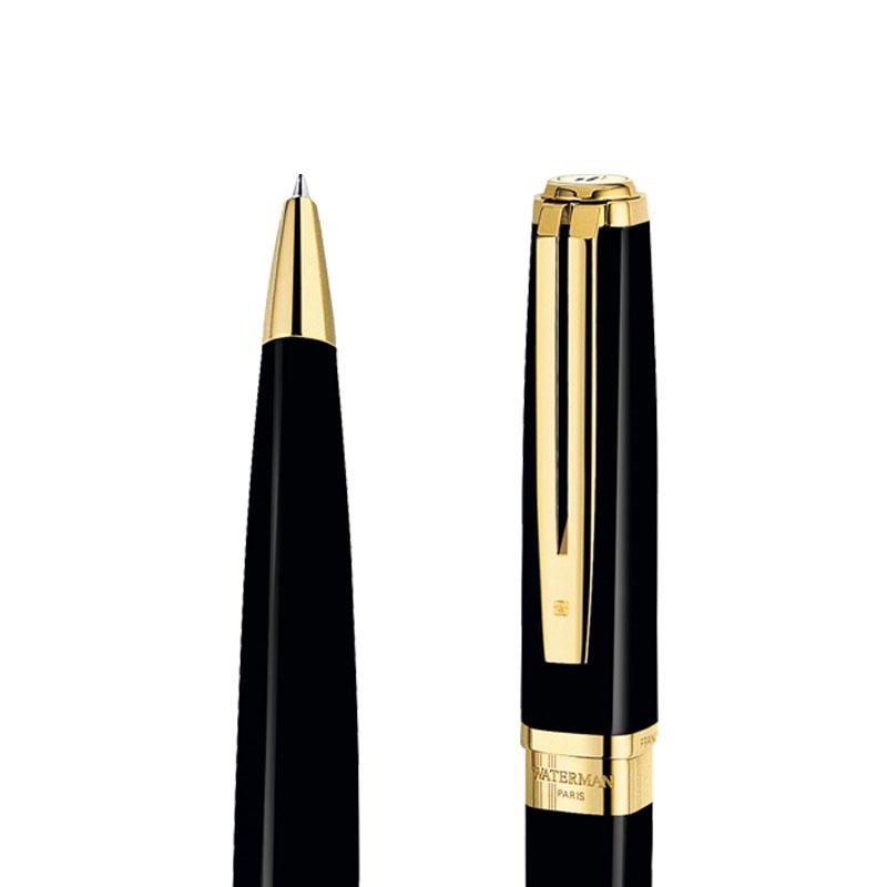 Długopis Waterman Exception Slim czarny GT w przekroju